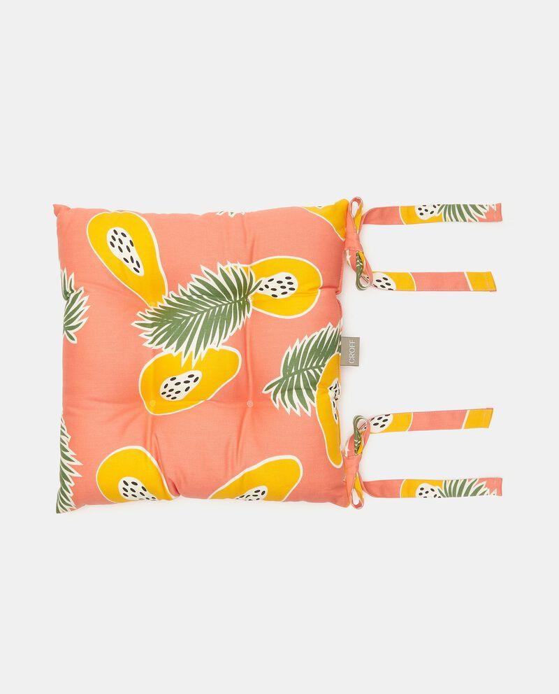 Cuscino coprisedia con stampa tropicale all over