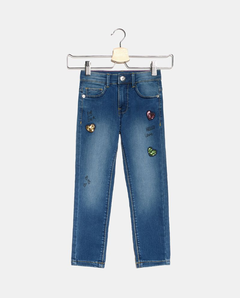 Jeans con cuoricini in paillettes bambinadouble bordered 0