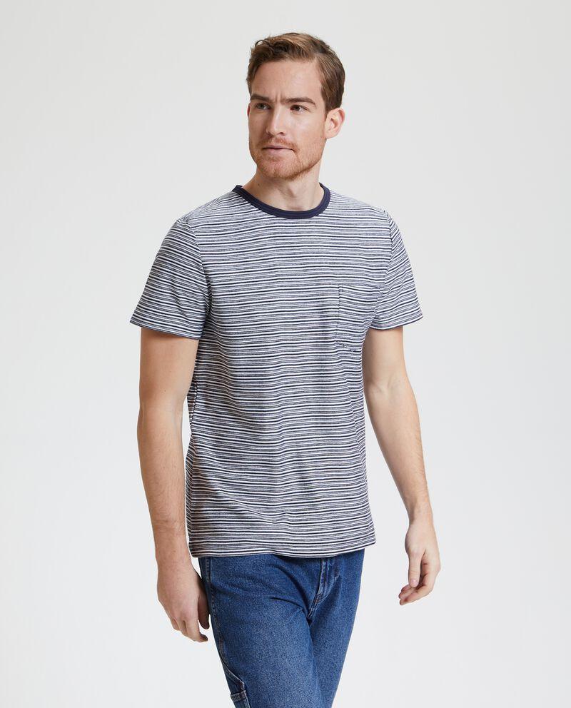 T-shirt in puro cotone con motivo a righe uomo