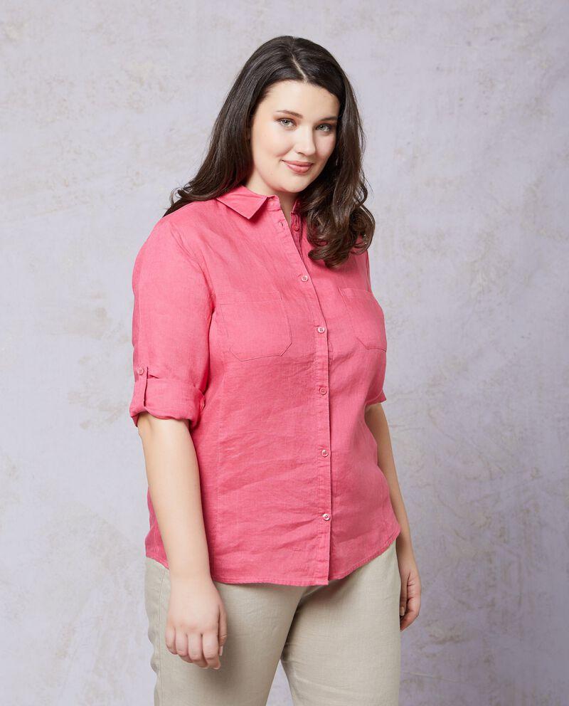 Camicia in tinta unita puro lino Curvy donna