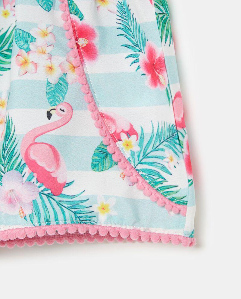 Shorts con motivo a righe e fantasia tropicale bambina