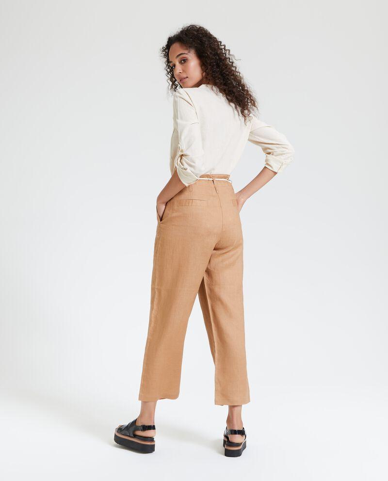 Pantaloni in puro lino con cordoncino donna