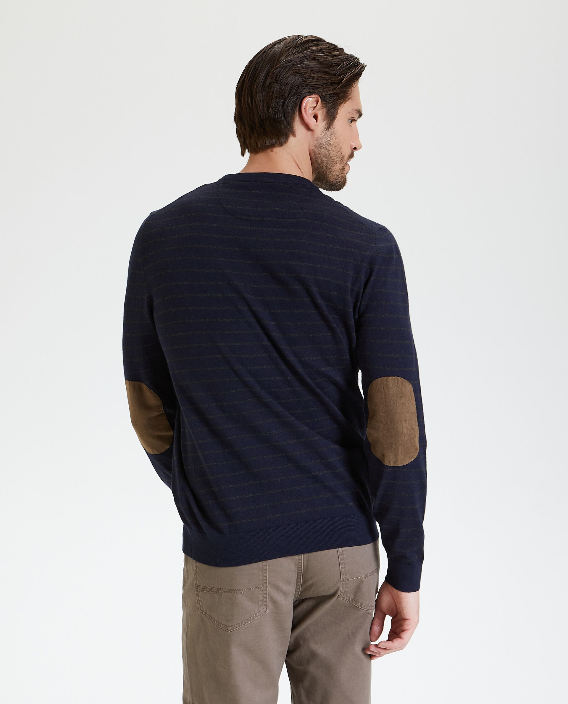 Maglione in caldo cotone a righe uomo