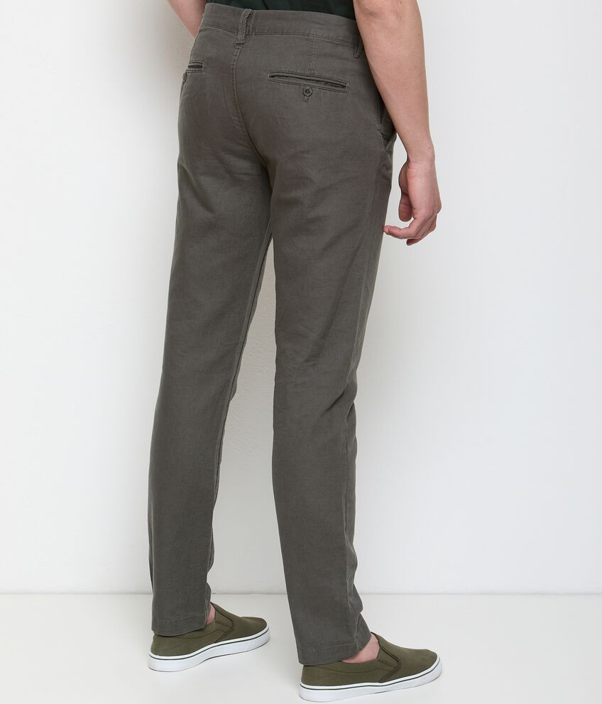 Pantaloni chino in misto lino uomo