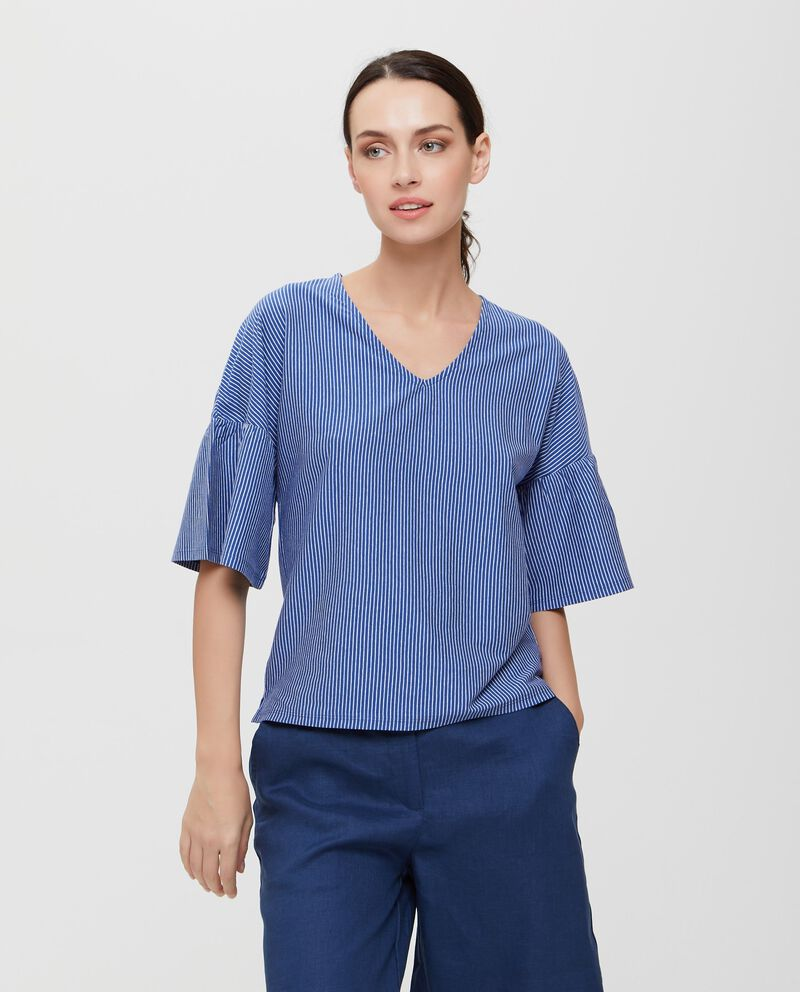 T-shirt blu in puro cotone a righe donna