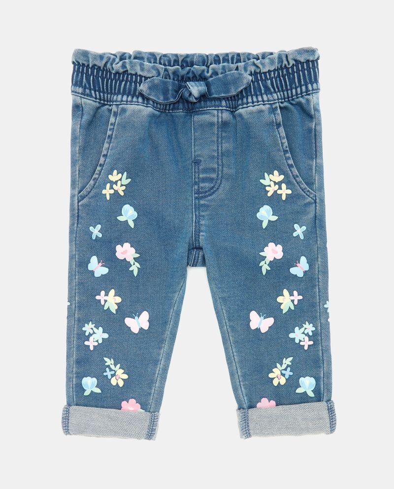 Jeans morbidi con fiocco neonata
