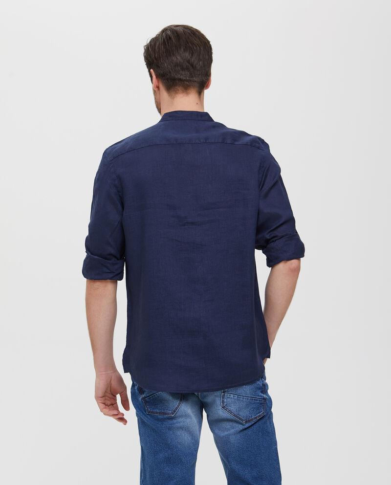 Camicia in puro lino blu con colletto alla coreana uomo