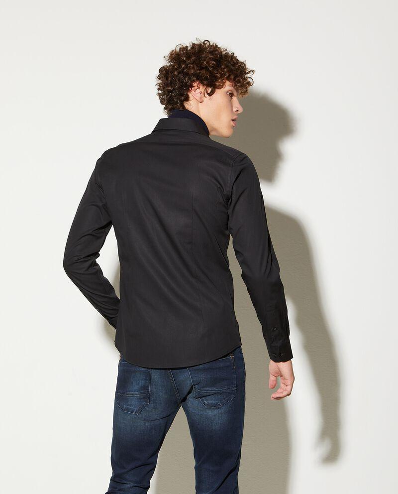 Camicia in puro cotone tinta unita slim fit uomodouble bordered 1