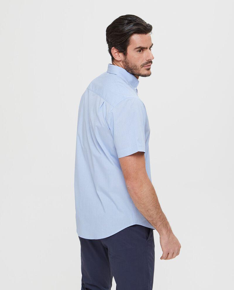 Camicia slim fit manica corta quadri azzurri