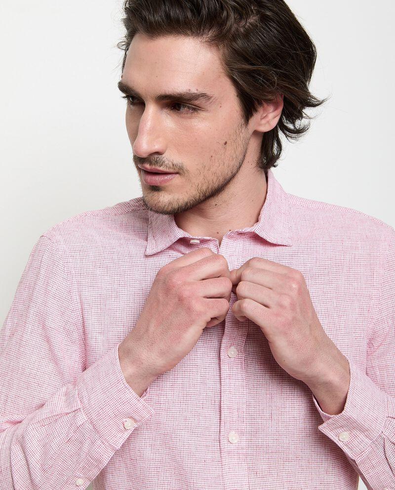 Camicia a quadri in misto lino uomo