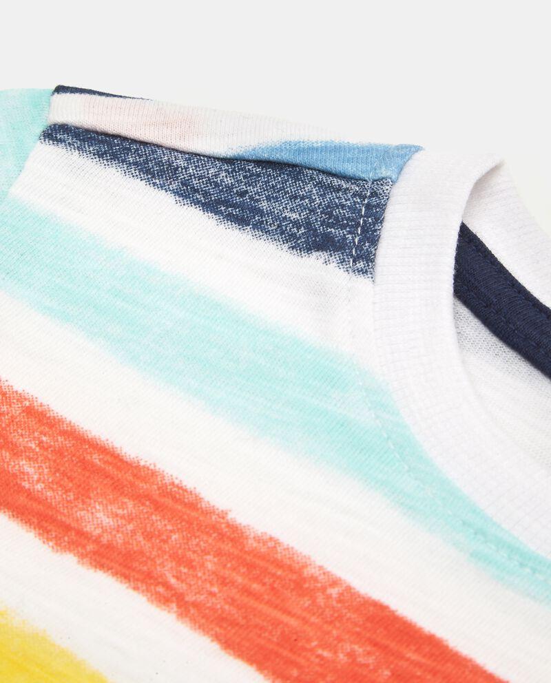 T-shirt con motivo a righe in puro cotone neonato
