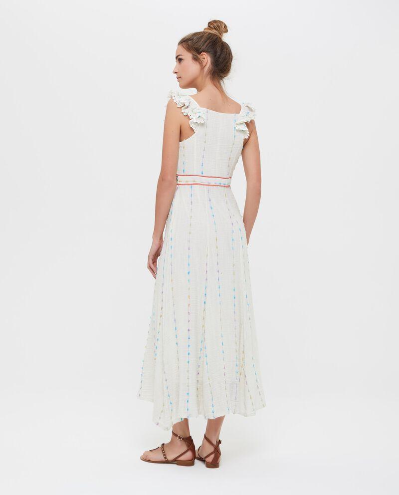 Vestito lungo in puro cotone con fantasia etnica donna