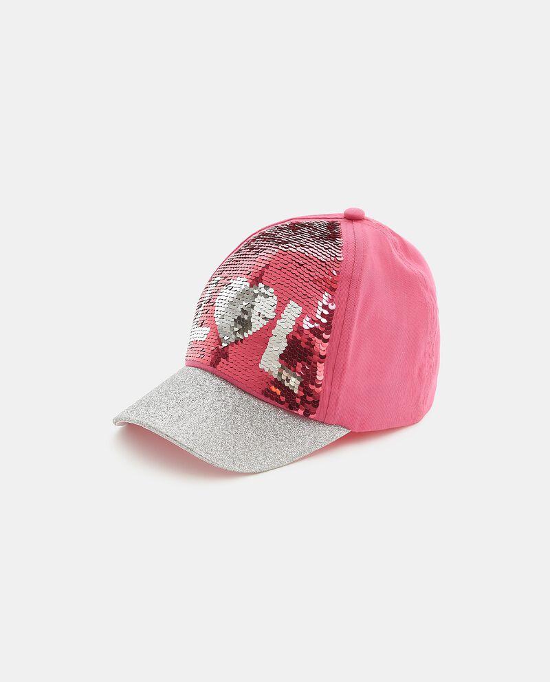 Cappellino in puro cotone con paillettes scriventi