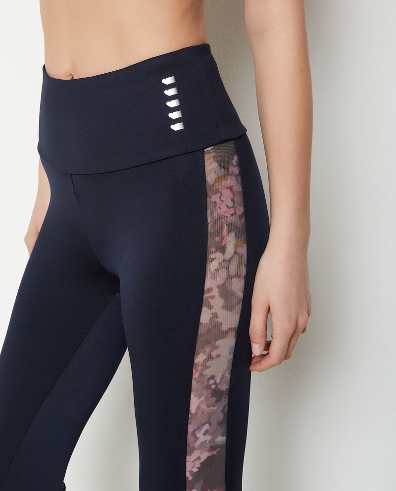 Leggings con tapes a contrasto donna