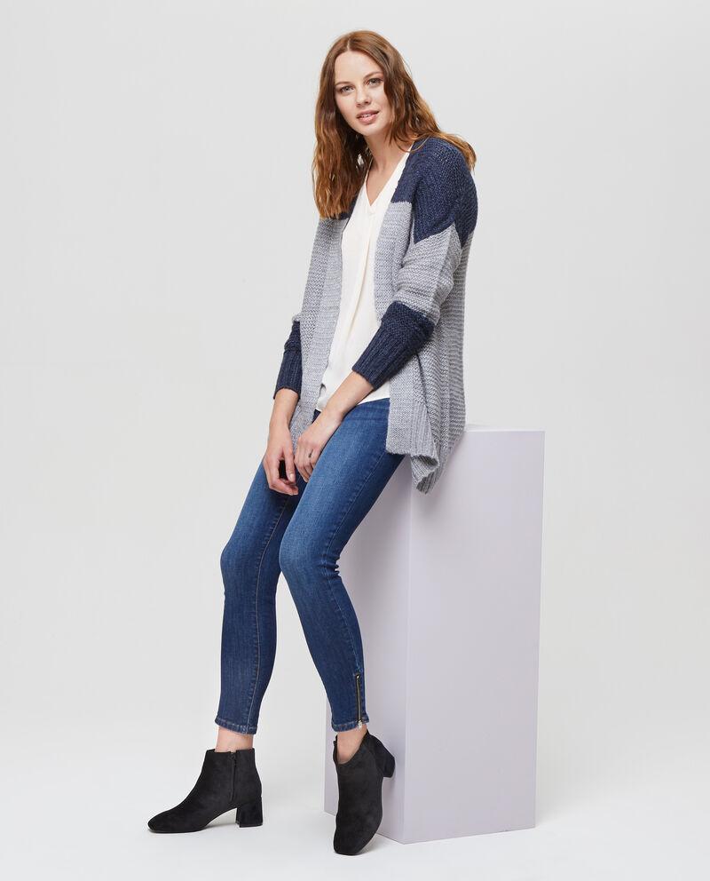 Cardigan tricot bicolore
