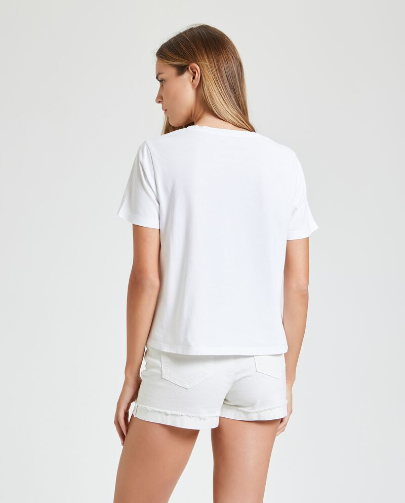 T-shirt in puro cotone con taschino donna
