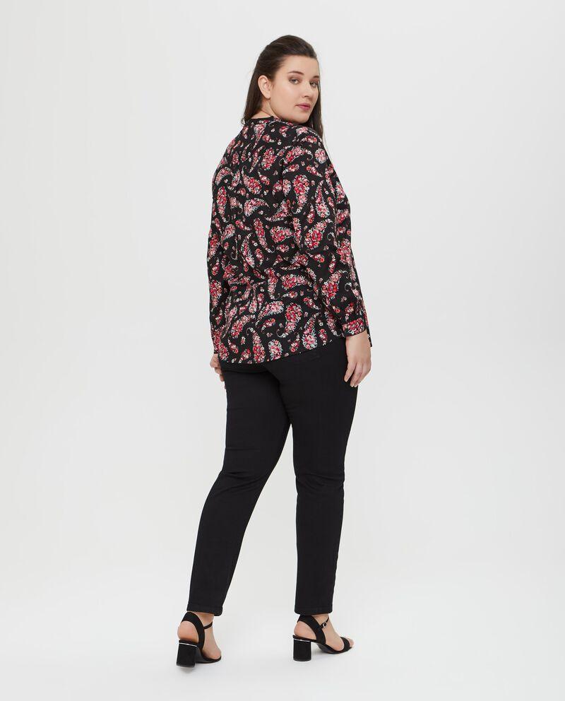 Camicia in puro cotone floreale nera Curvy