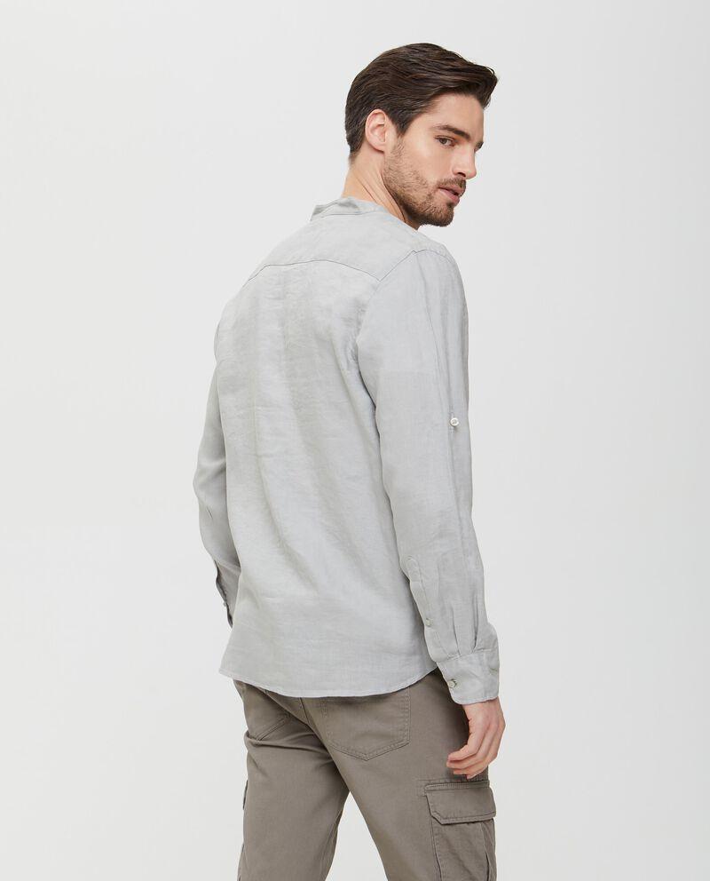 Camicia grigia in puro lino in tinta unita uomo