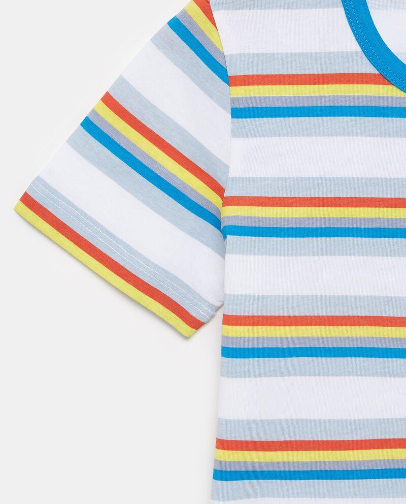 T-shirt in puro cotone con motivo a righe colorate bambino