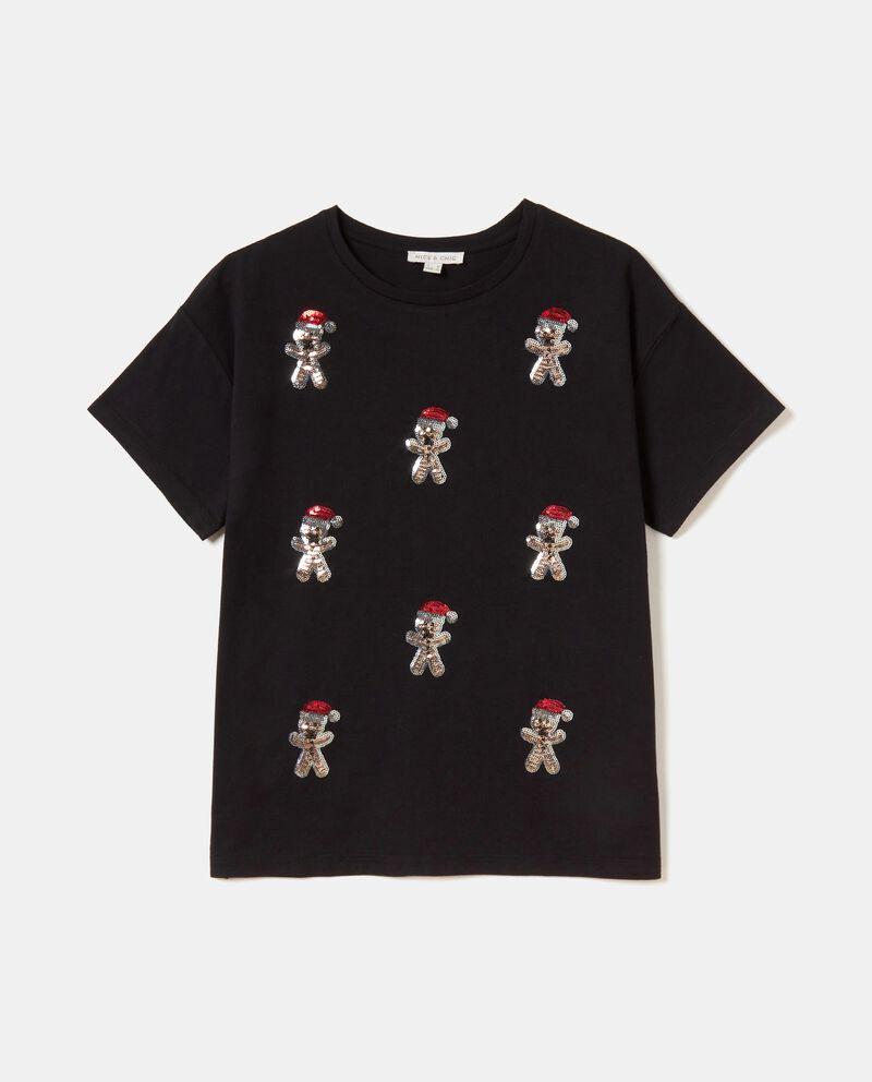 T-shirt con omini in paillettes puro cotone donna