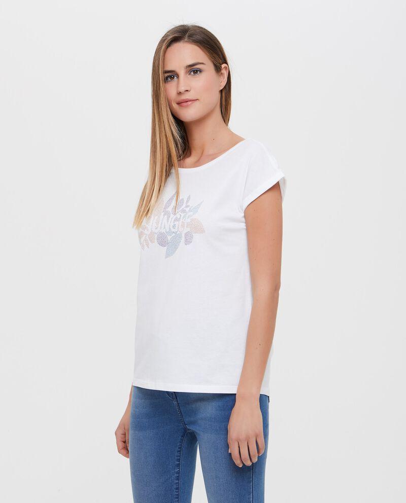 T-shirt in puro cotone con lettering e disegno donna