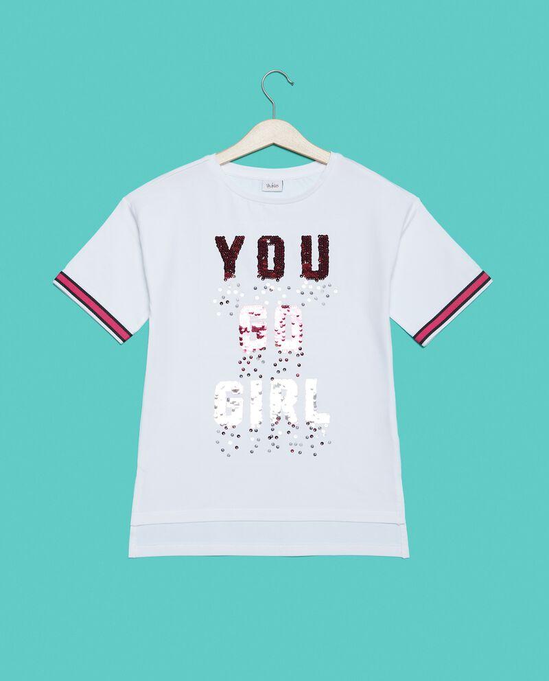 T-shirt con lettering paillettes ragazza