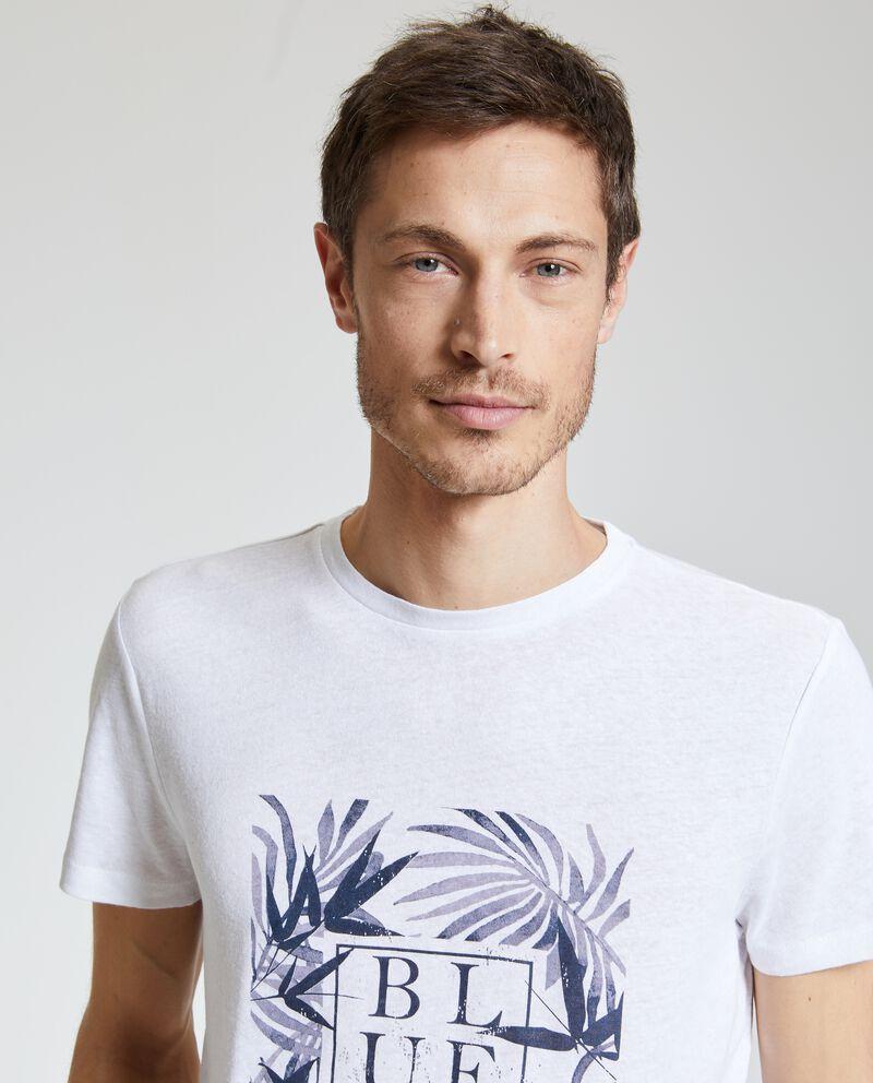 T-shirt in cotone misto lino stampata uomo