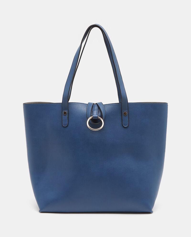 Shopper blu con dettaglio in metallo donna