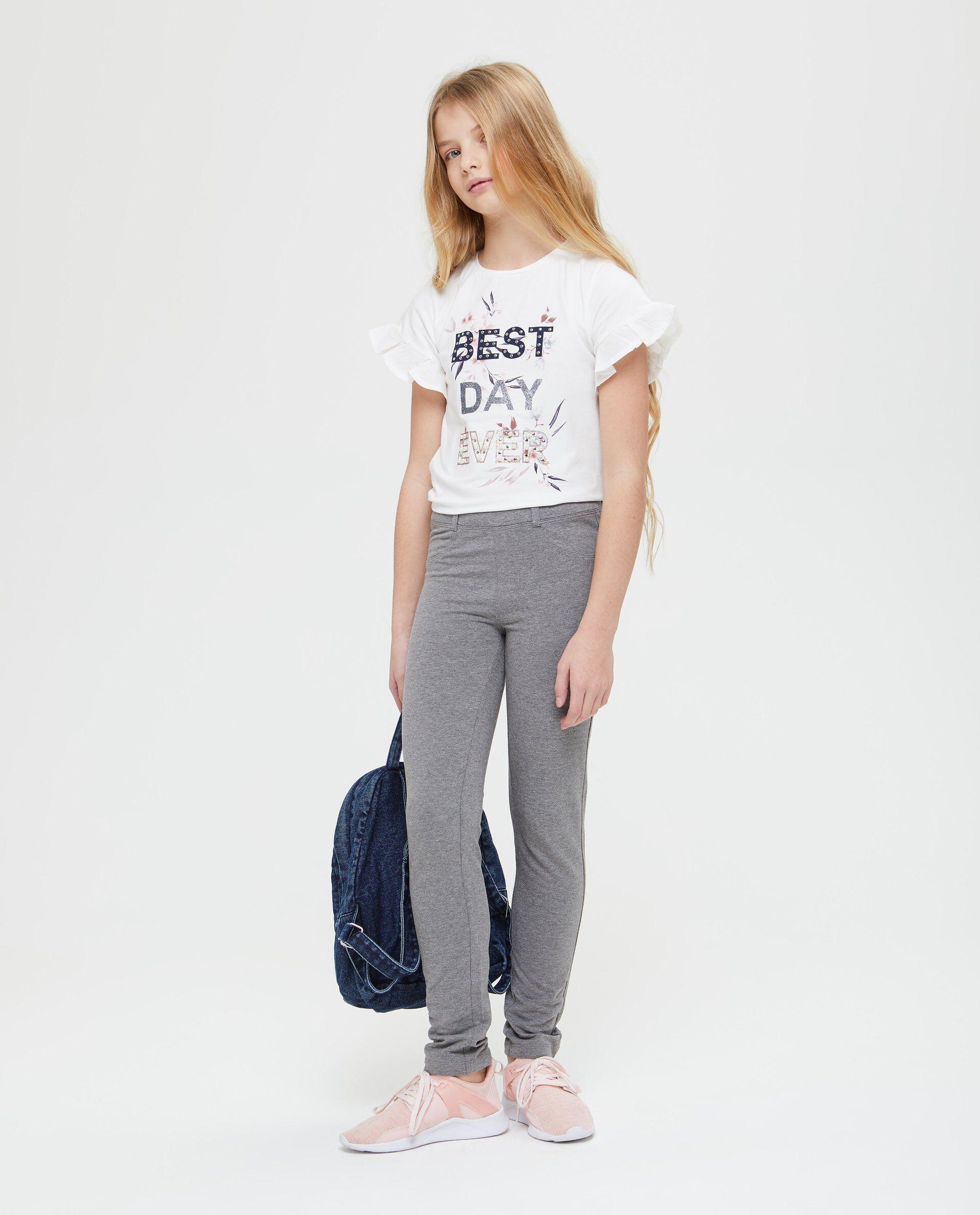Pantaloni mélange vita elasticata