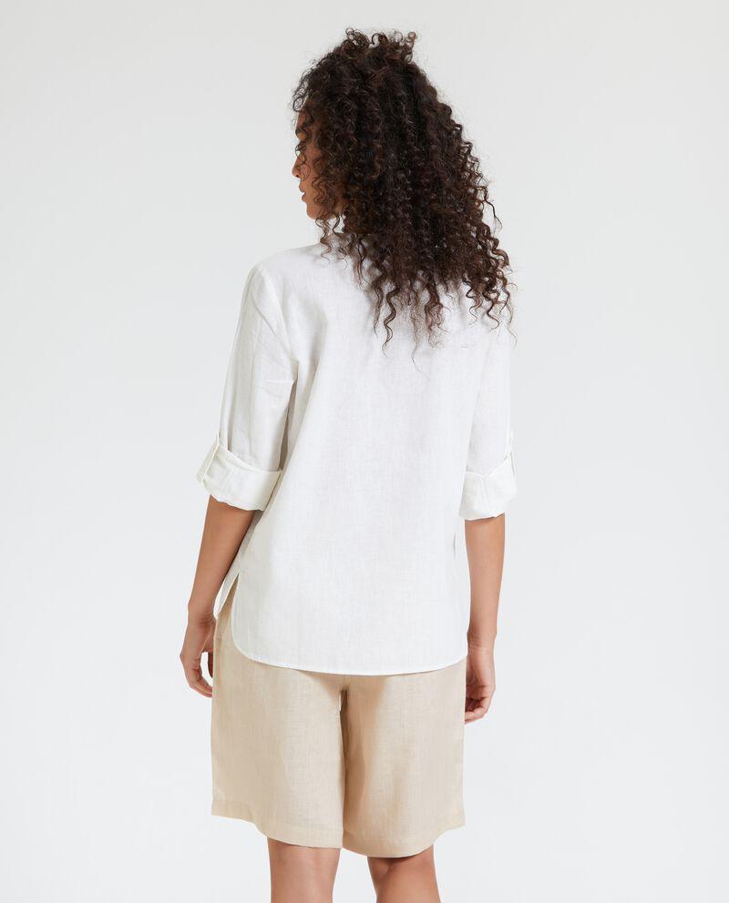 Camicia coreana in fresco cotone misto lino donna