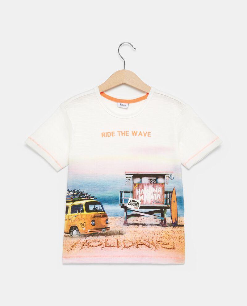 T-shirt bianca in puro cotone effetto degradé bambino