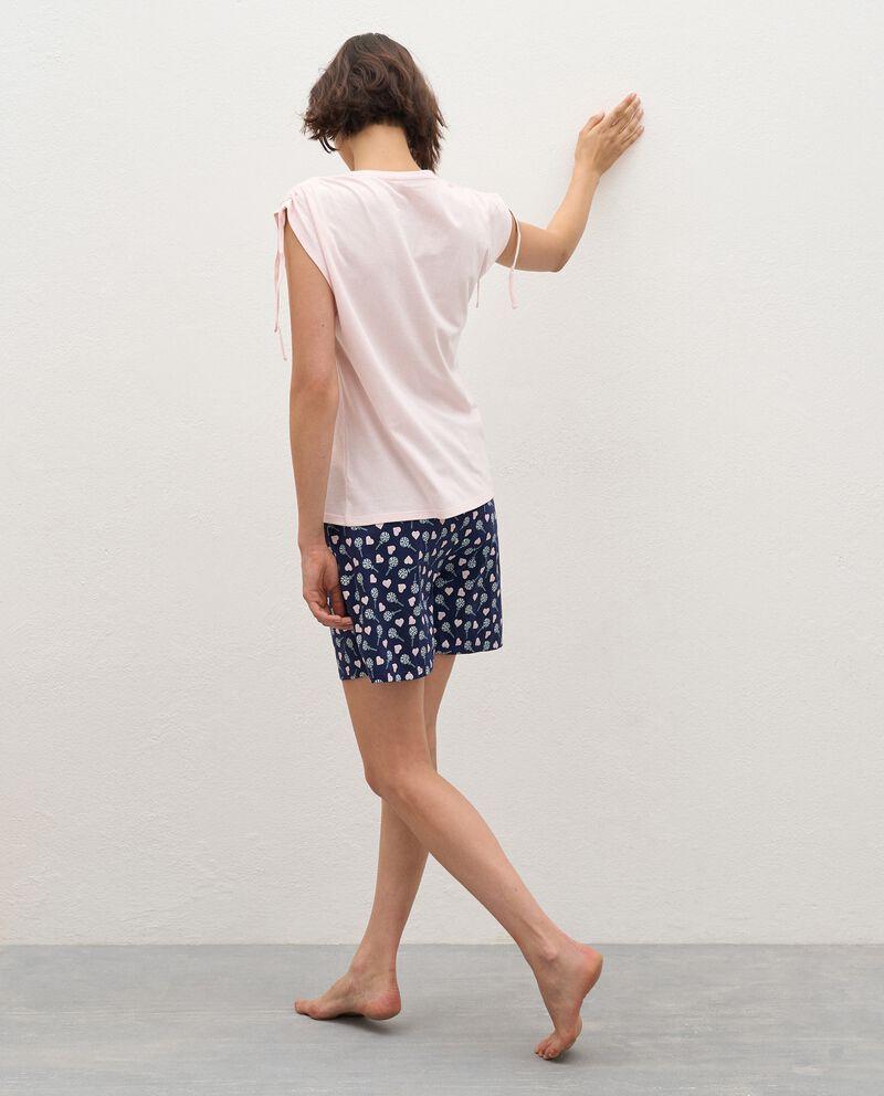 Pigiama t-shirt e bermuda in puro cotone donna single tile 1