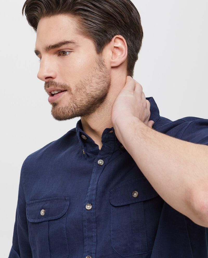 Camicia in puro lino blu a maniche corte uomo