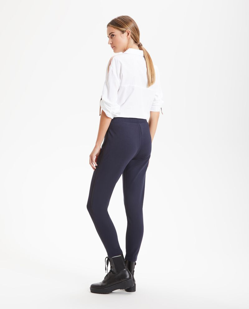 Leggings con bande in ecopelle donna