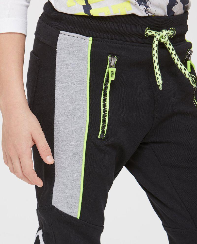 Pantaloni in puro cotone grigio e giallo