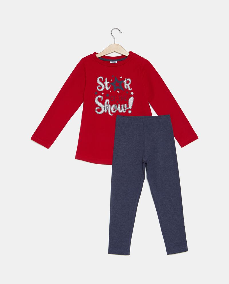 Set jogging t-shirt stampa e leggings bambina