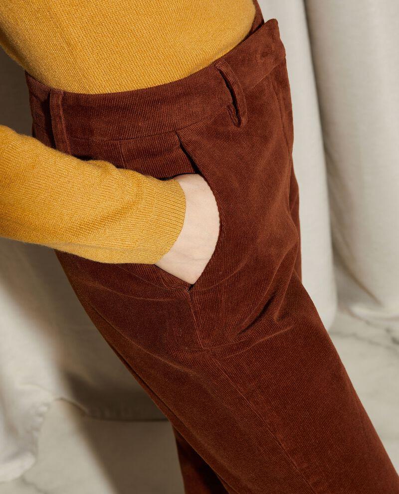 Pantaloni a coste in tinta unita donna