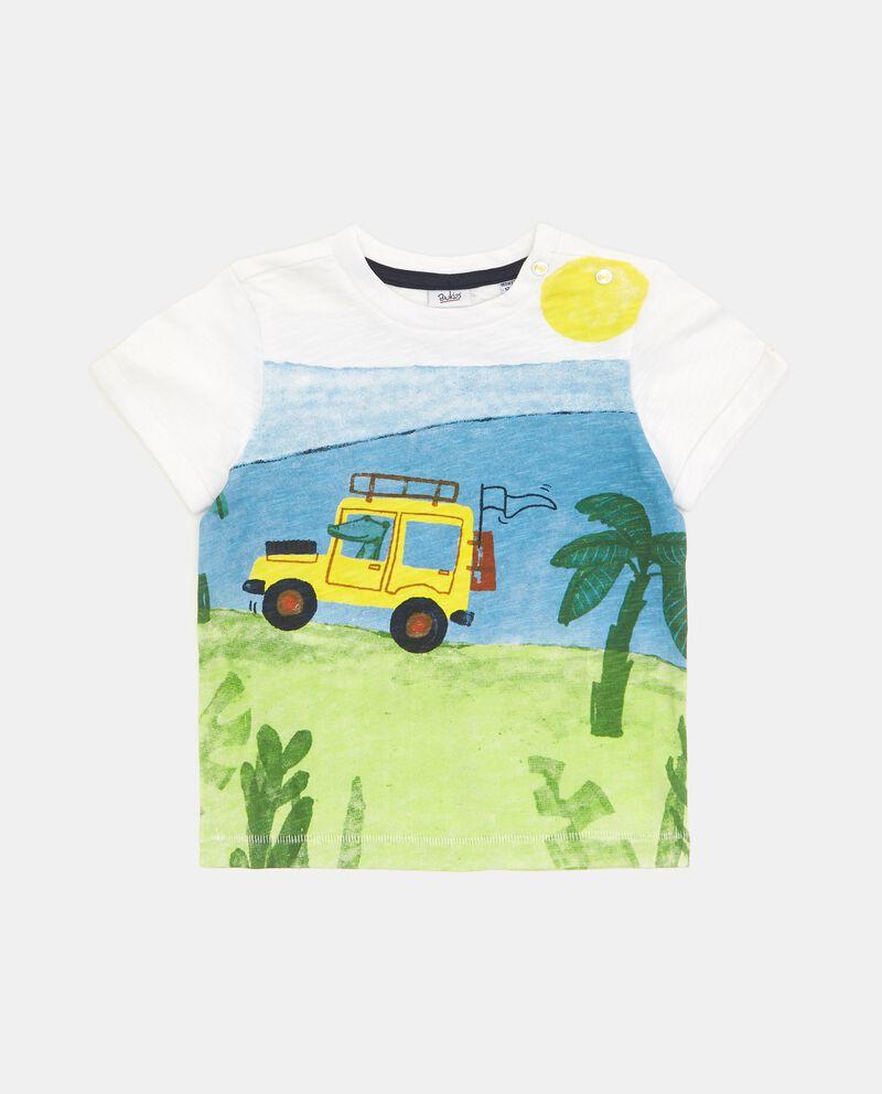 T-shirt in puro cotone con stampa disegno neonato
