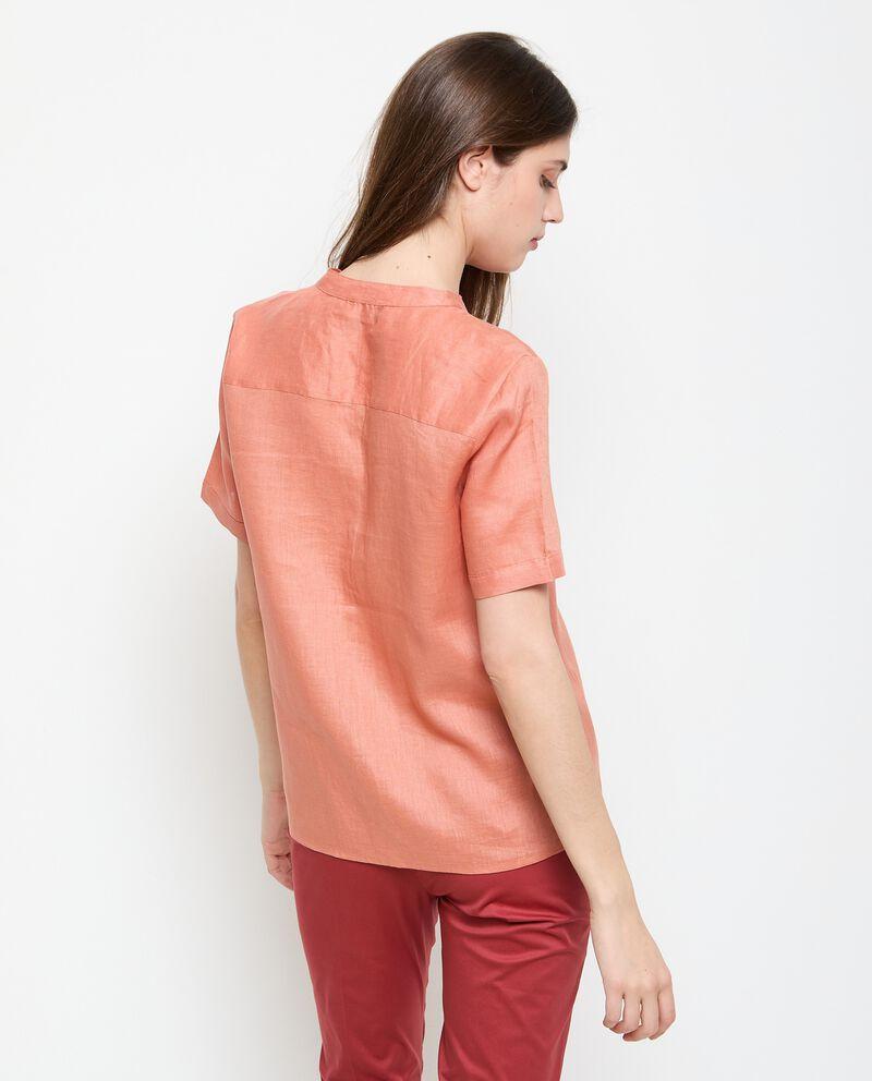 Camicia a maniche corte in puro lino donna single tile 1