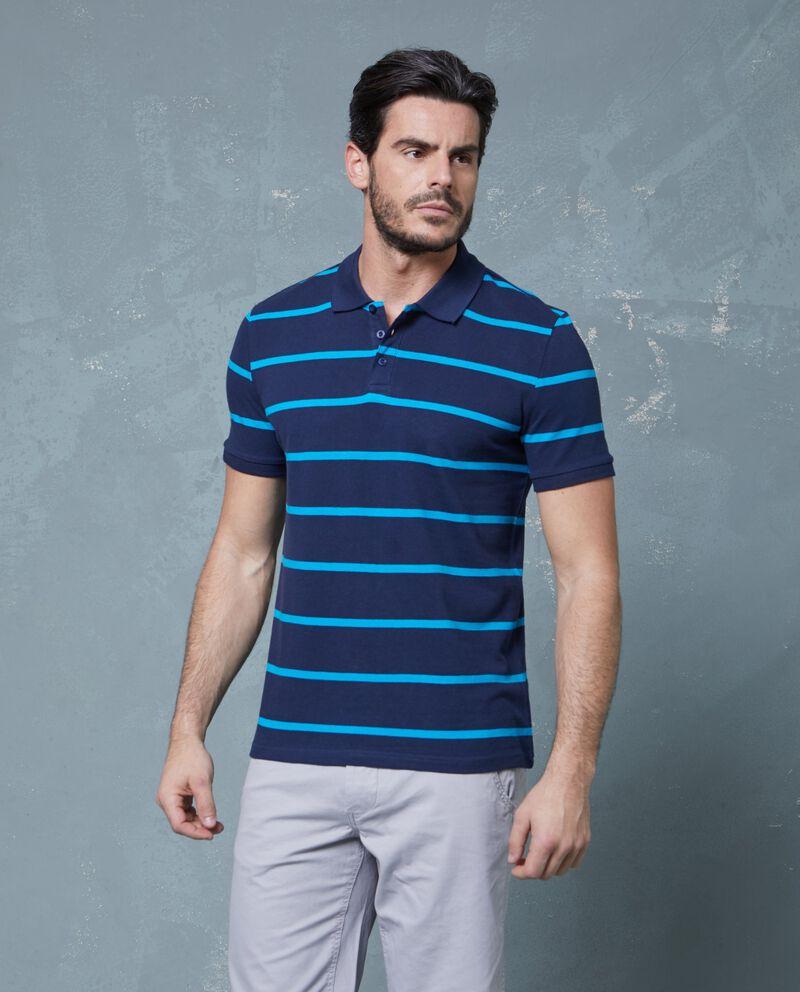 Polo in puro cotone blu a righe uomo