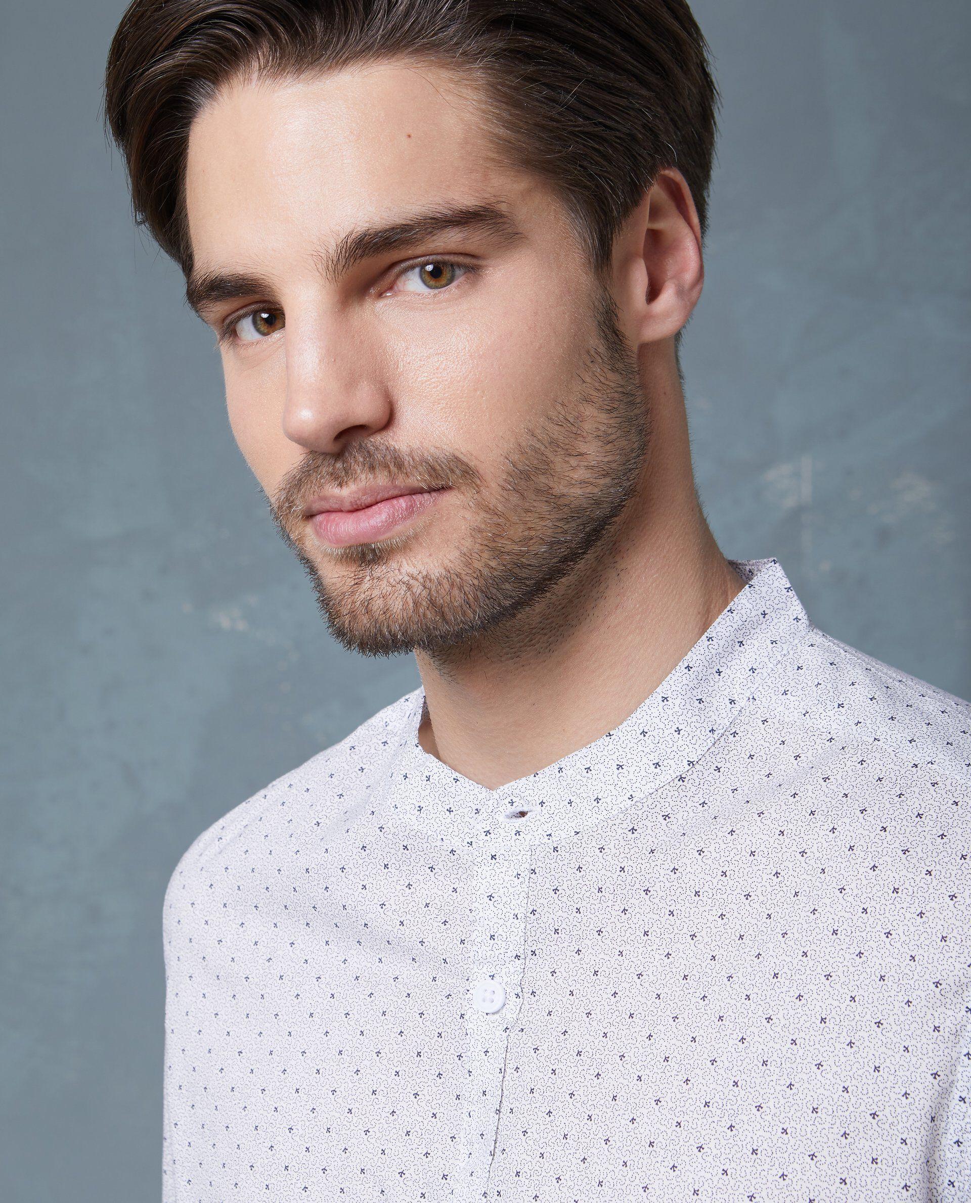 Camicia in puro cotone bianca a micro fantasia uomo