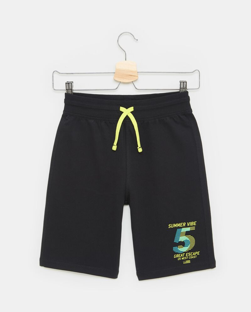 Shorts con costina e coulisse stampa