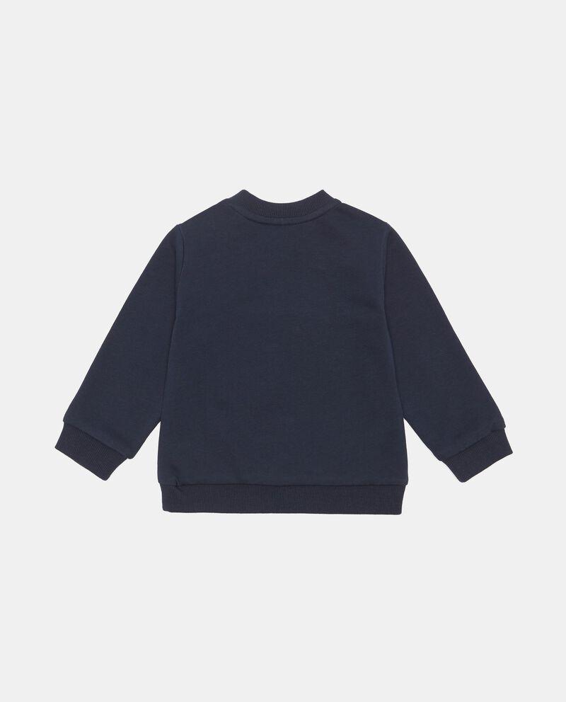 Felpa con inserto jeans e lettering