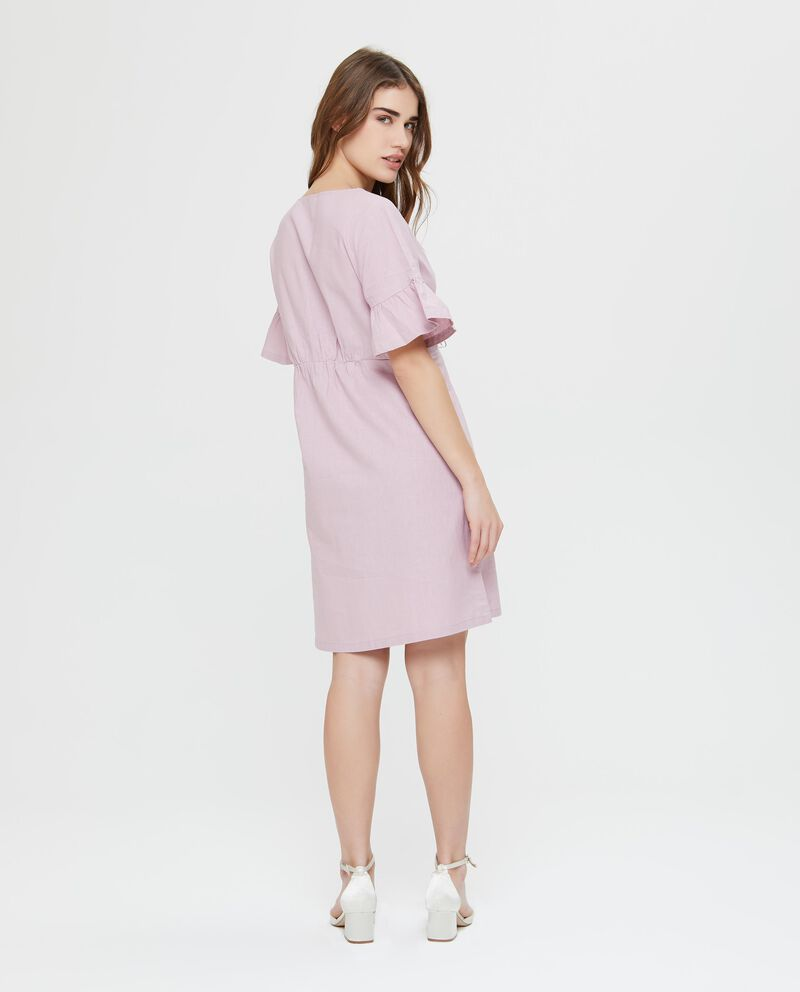 Vestito in lino e cotone rosa a maniche corte incrociato