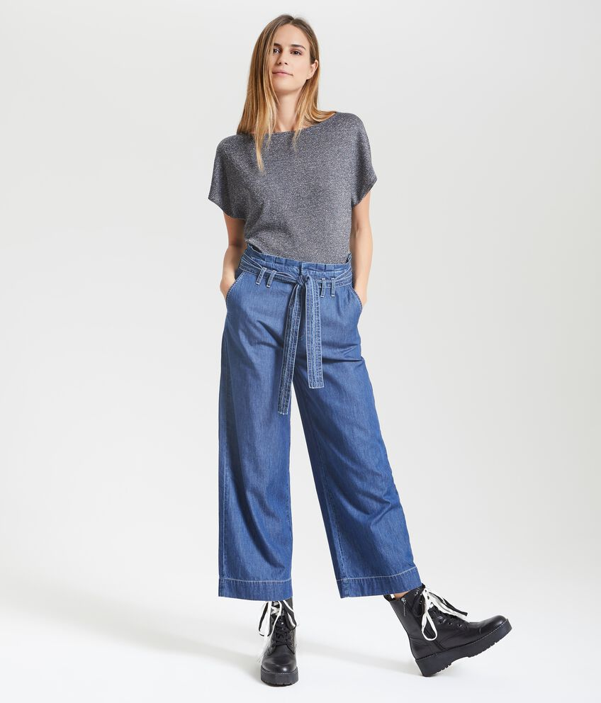 Jeans cropped ampi donna