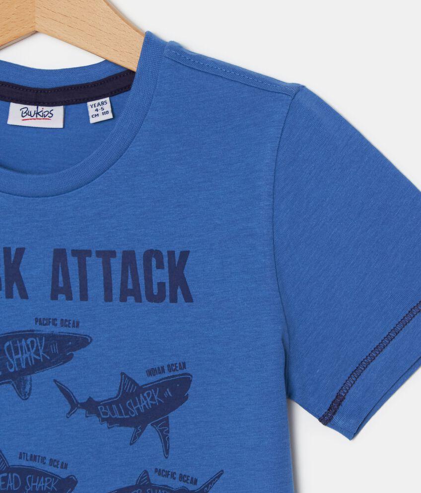 T-shirt con stampa squali in puro cotone bambino