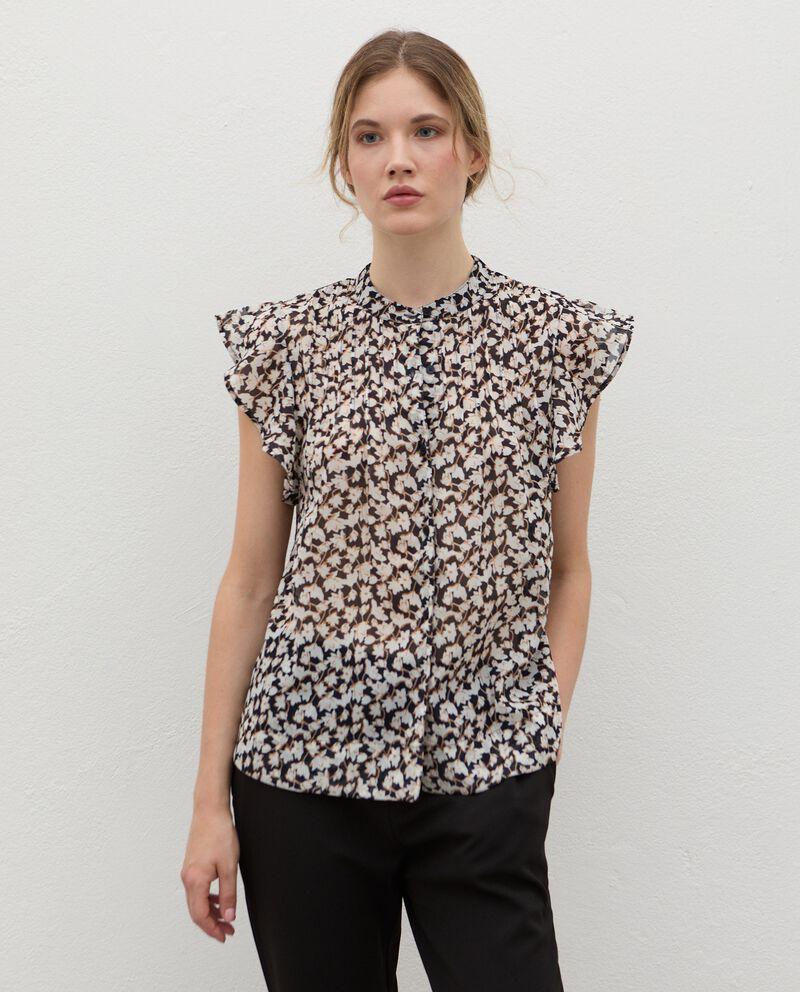 Camicia plissé con maniche volant donna cover