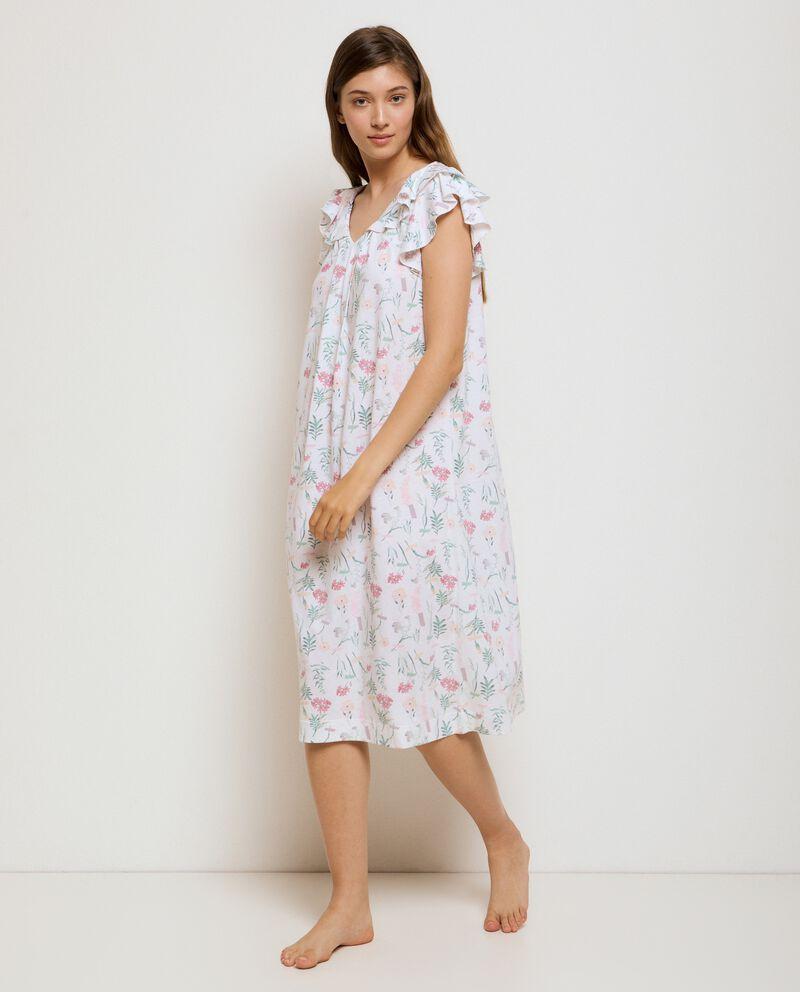 Camicia da notte a maniche corte volant in cotone organico donna cover
