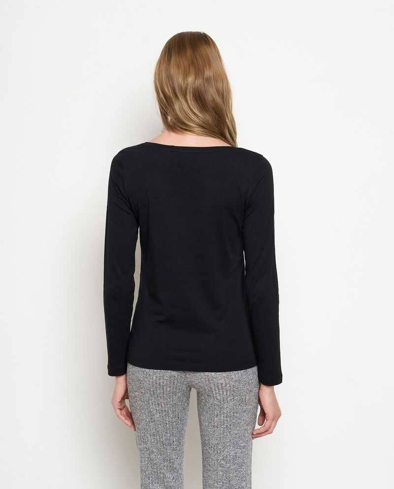 T-shirt a maniche lunghe in puro cotone donna
