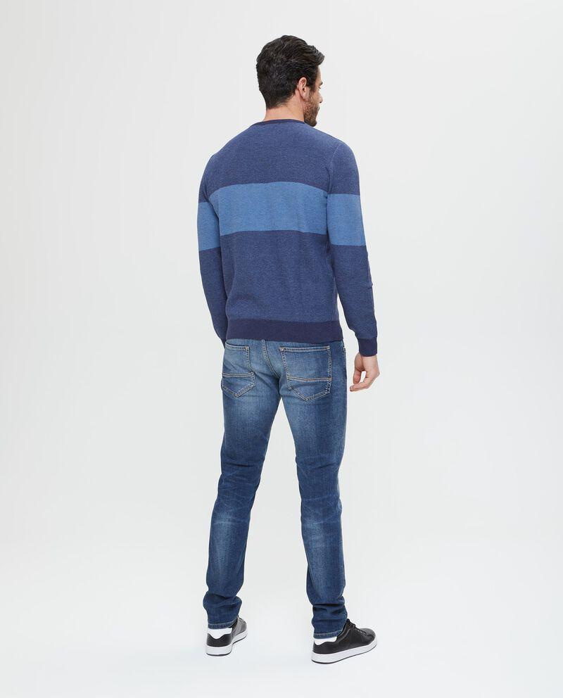 Maglione in puro cotone blu a fasce